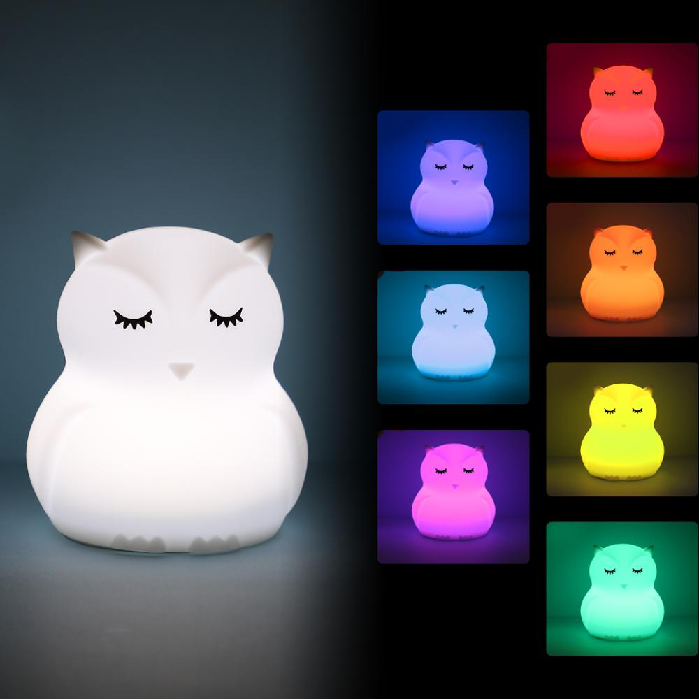 Mini Owl RGB LED Night Light Portable Lighting Cartoon Silicone Bird Night Lamp Bedroom Bedside Lamp For Children Kids Baby Gift