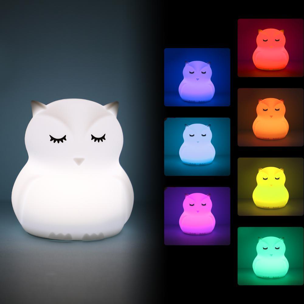 Mini Owl RGB LED Night Light Portable Lighting Cartoon Silicone Bird Night Lamp Bedroom Bedside Lamp For Children Kids Baby Gift