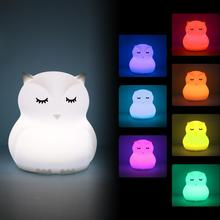 Mini Silicone Owl Night Light Portable 9 Colors LED Atmosphere Bird Lamp Bedroom Bedside for Children Kids Baby Gift