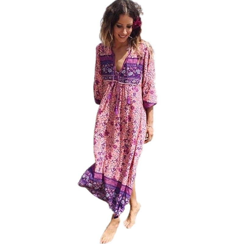Boho Dress Chic Floral Print Cotton Maxi Dess V-neck Long Sleeve Tassel Women Dresses 2017 Autumn Bohemia Femme Dresses