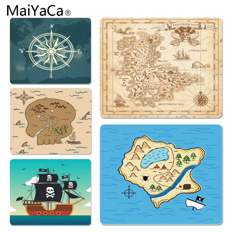 MaiYaCa Pirate Treasure Map Gamer Speed Mice Retail Small Rubber Mousepad Size for 25x29CM Speed Version Gaming Mousepads