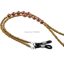 Wholesale 20PCS NEW Beautiful gold Beaded Glasses / Sunglasses Spectacle Beads Chain Strap Cord Holder Retail