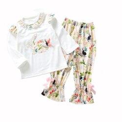 Одежда для девочек с пасхальным рисунком кролика, Детский комплект из трикотажной ткани с цветочным принтом пейсли, Детские рубашки с принт...