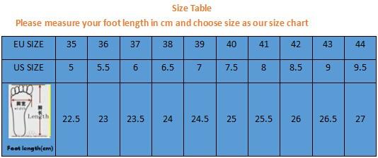 size table men&women