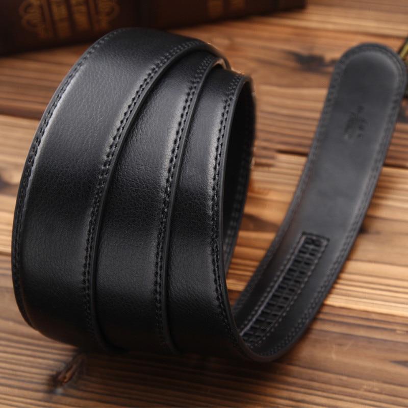 Luxury Men/'s PU Leather Automatic Ribbon Waist Strap Belt Waistband Black Buckle