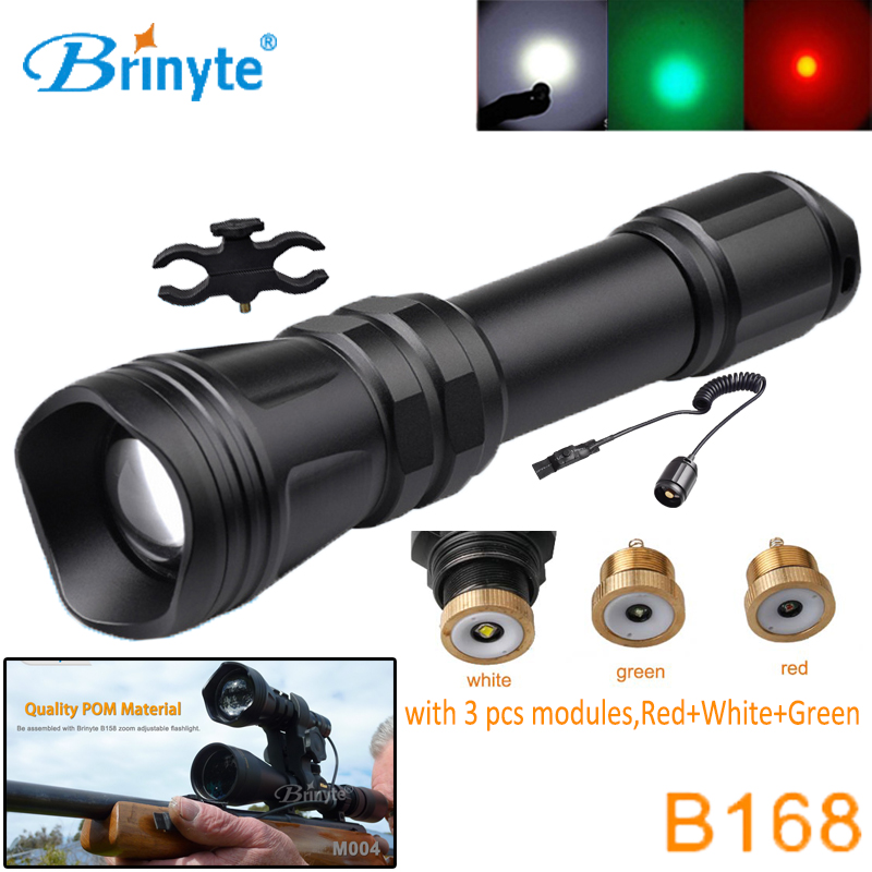 Brinyte B168 Zoom Hunting Flashlight Cree XM-L2 U4 LED Tactical Torch with RED GREEN WHITE Module Gun Mount Remote Switch securitying red green white hunting led flashlight torch xm l2 u4 led 5 mode zoomable waterproof flash light remote switch