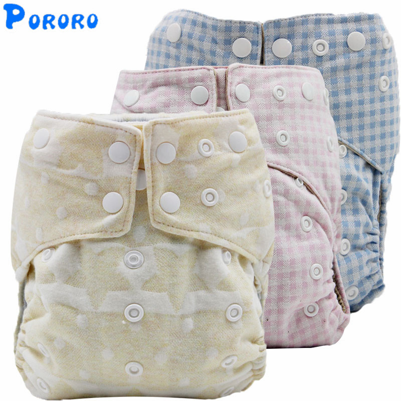 5PCS Reusable Cotton Cloth Diaper Baby Boys Girls  Nappy Cover Pockets Washable Anti Leak Cloth Diapers Double Gussets