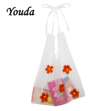 Youda Original Flower Embroidery Organza Ladies Shoulder Bag Student Simple Style Handbag Fashion Woman Light Shopping Tote