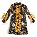 ВЫСОКОЕ КАЧЕСТВО Новые 2017 Взлетно-Посадочной Полосы Дизайнер Dress женская С Длинным Рукавом Дракон Рисунок Принт Лук Выравнивание Dress Плюс размер S-3XL