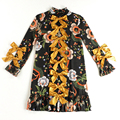 HIGH QUALITY Newest 2017 Runway Designer Dress Women's Long Sleeve Dragon Pattern Print Bow Alignment Dress Plus size S-3XL
