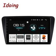 Idoing 10,2 «ips 2.5D 4 Гб + 64 1 Din Android 8,0 автомобиль радио мультимедиа gps плеер для Skoda Octavia 2017 8 Core быстрая загрузка NoDVD