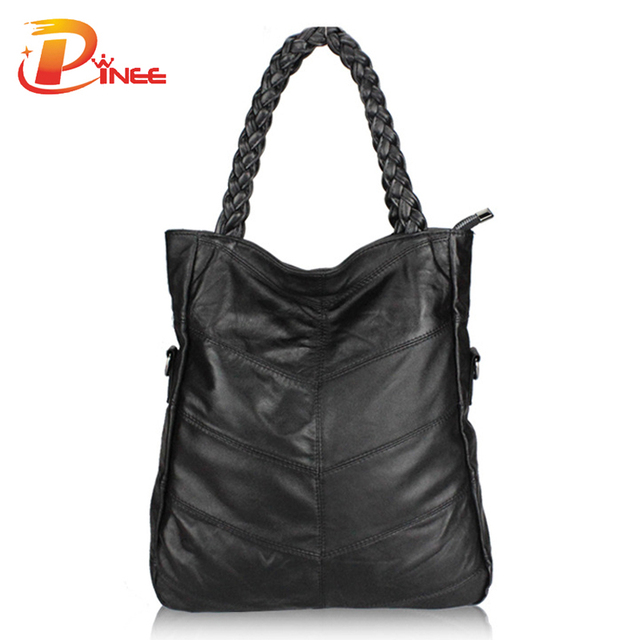 Fashion Genuine Leather Women Handbag Patchwork Natural Sheepskin Shoulder Bag Famous Brand Women Bag