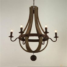 6 Lamps Vintage old wood Pendant lights Chain Hanging Pendant Lamps For Hall Study Room Living Room Retro Fixtures LuminaIres