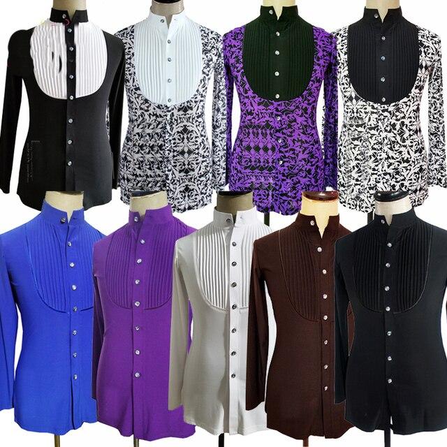 Latin Dance Tops Long sleeve Latin Shirts Men Ballroom Competition Performance Dancewear Rumba Practice Dancing Clothes DN7024