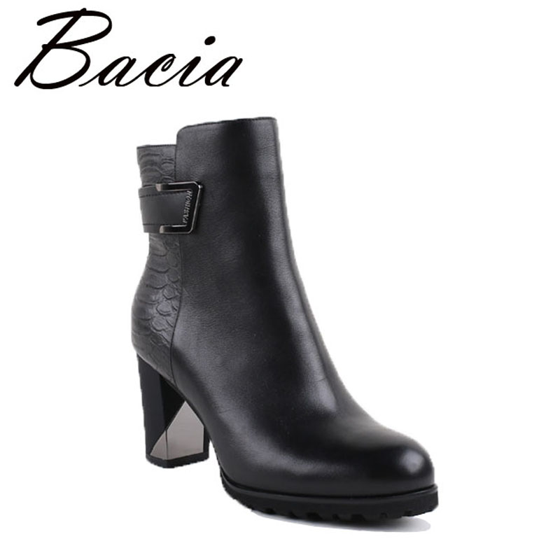 Bacia High Heels Ankle Boots Long Plush Warm Winter Boots Handmade Genuien Leather Shoes 8.2cm heel  Luxury Shoes 2016 New VB025 bacia genuine leather boots short plush women shoes black simple style ankle boots with zipper handmade high quality shoes vd021
