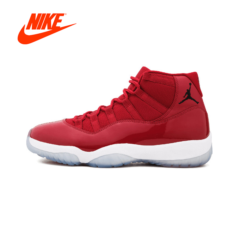NIKE Red Comfortable Durable Basketball Shoes Nike Air Jordan 11 Retro Men's Sneakers Sports AJ11