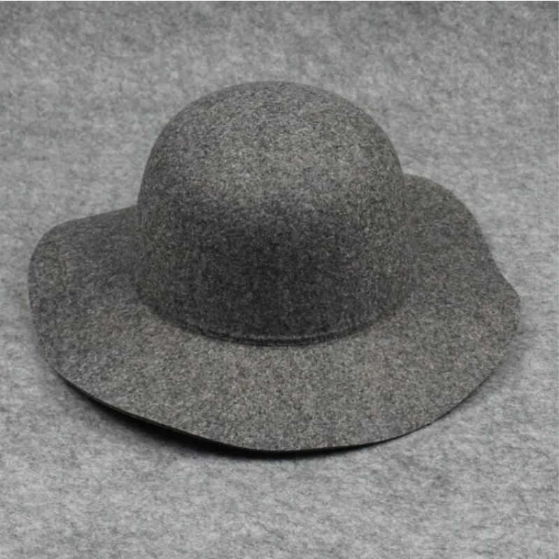 b3a79db8b wool felt women wide brim hat dome large brim British style bowler hat gray  floppy cloche women's fazz hat fedoras drop shipping