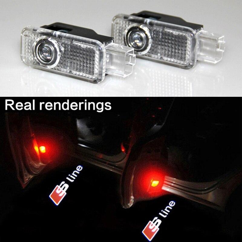 <font><b>LED</b></font> двери сигнальная лампа с Sline Логотип проектор для <font><b>Audi</b></font> A5 A6L A6 C5 A4L A4 B6 B8 A1 A8 TT Q7 Q5 <font><b>Q3</b></font> A3 R8 RS