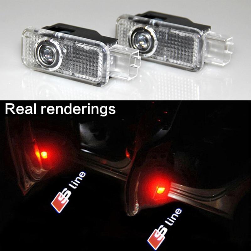 <font><b>LED</b></font> Door Warning Light With Sline Logo Projector For Audi A5 A6L A6 C5 A4L <font><b>A4</b></font> B6 <font><b>B8</b></font> A1 A8 TT Q7 Q5 Q3 A3 R8 RS