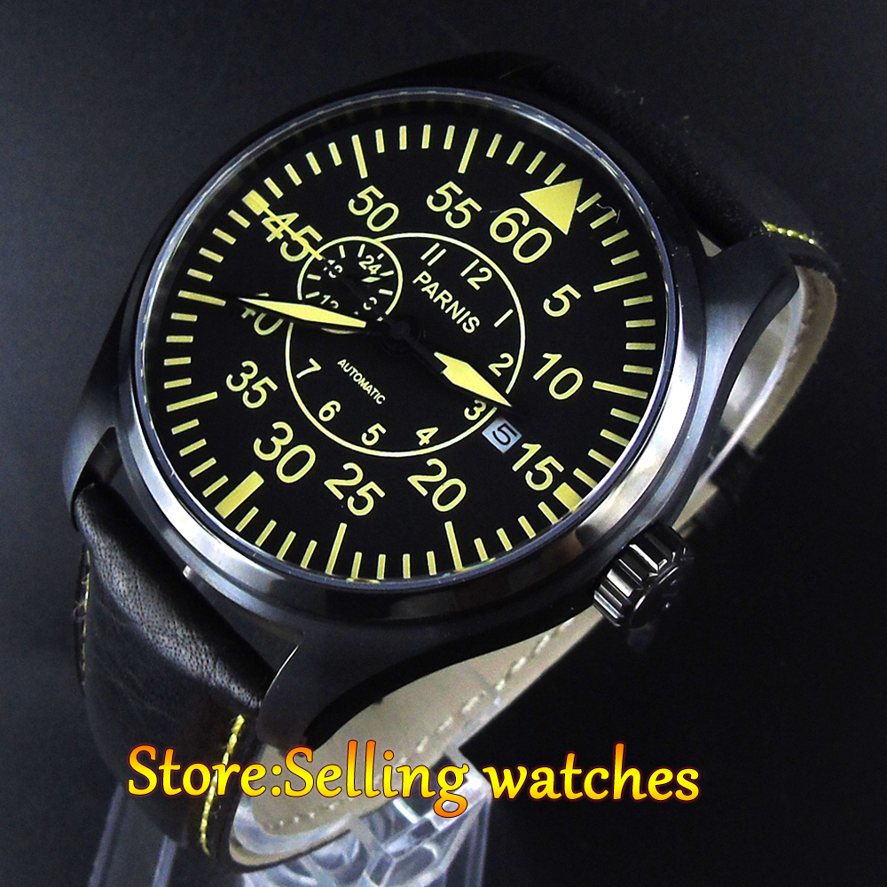 44mm Parnis Sapphire Crystal PVD Case Yellow number MIYOTA 21 jewelry Automatic Self-Wind Movement Men's Watch japan miyota 40mm pvd case parnis men s watch