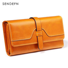 Sendefn Vintage Long Solid Luxury Brand Women Wallets Fashion Leather Wallet Female Clutch Money Women Coin Purse 5160-68(China)