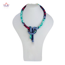African Print Necklace Ankara Print Necklace African Ethnic Handmade jewellery African fabric jewellery for Women none WYB302(China)