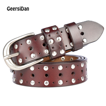 GEERSIDAN Newest Fashion genuine leather womens belt Brand luxury casual decoration rivet pin buckle for female WaistBands