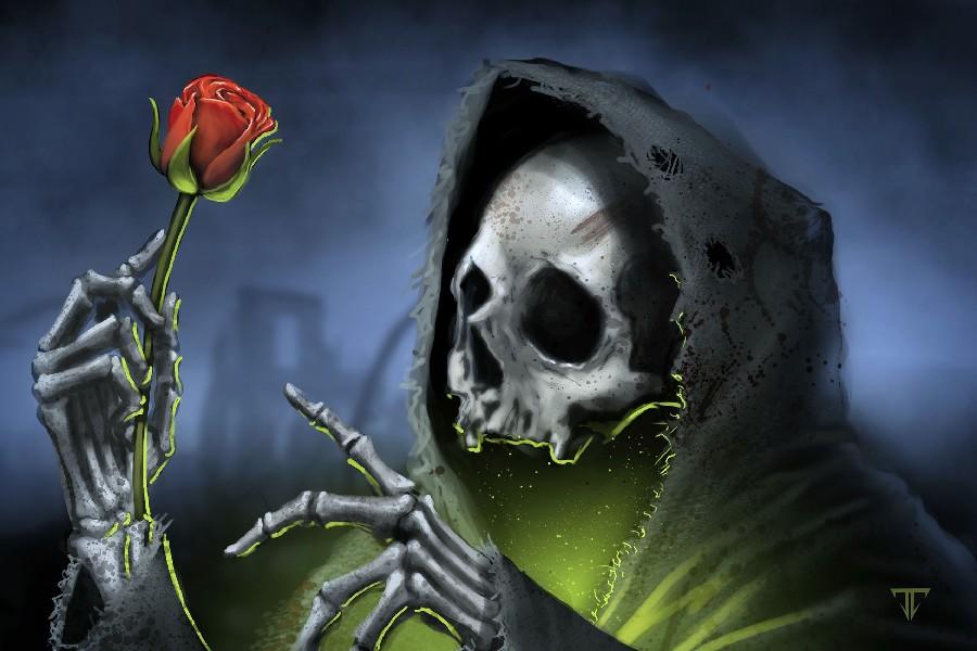 Resultado de imagen de esqueletos con rosas en gotico