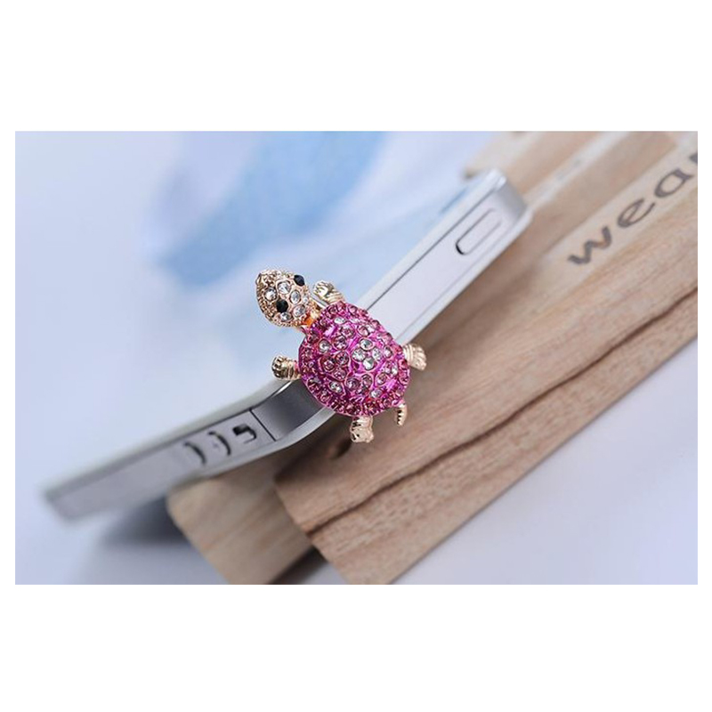 POMER Dust Plug Earphone Jack Accessories Crystal Lovely Turtle Cell Charms Ear