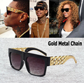 2016 New Fashion Celebrity Inspired Gold Metal Chain Kim Kardashian Beyonce Sunglasses Vintage Hip Hop Sun Glasses Oculos De Sol