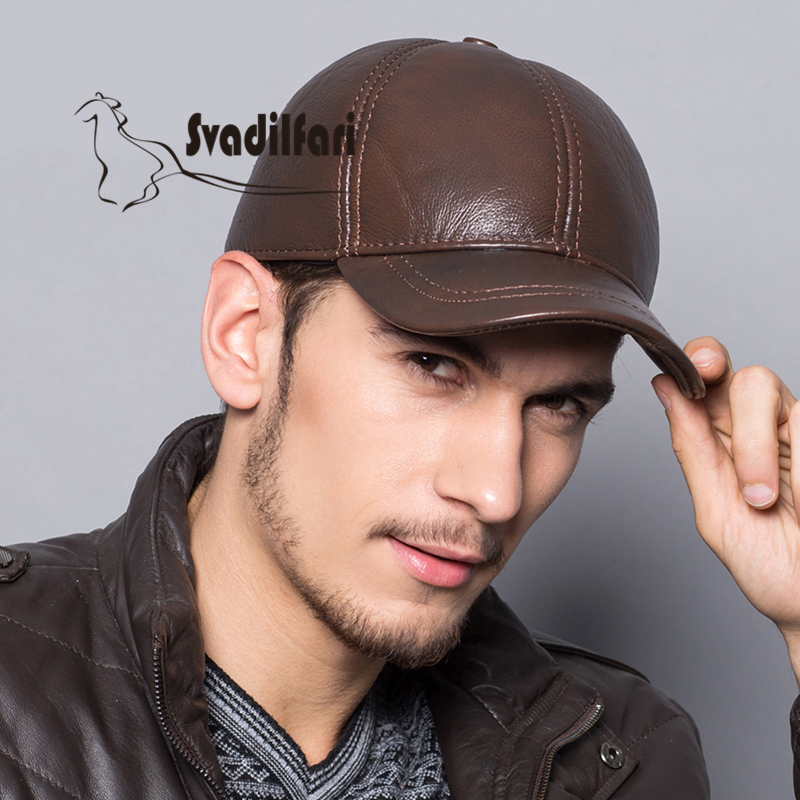Leather Hat men's baseball cap outdoor old Korean fashion leather ear cap cap in autumn and winter brushed cotton twill ivy hat flat cap by decky brown