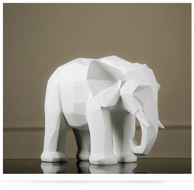 Nordic Geometry Origami Black And White Elephant Figurine Ornaments