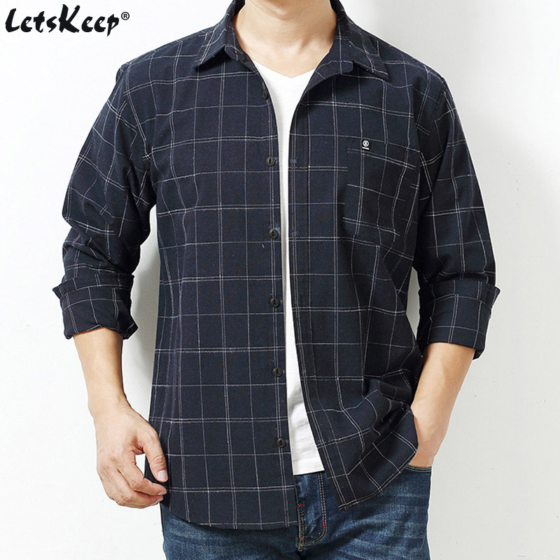 2019 New LetsKeep Men Casual Long sleeve Oxford shirts plaid mens shirts Loose shirt plus size 6XL 7XL high quality, ZA534
