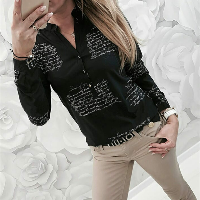 2019 New Women Casual Sexy High Quality Top Blouse V Neck Letters Printing Button Long Sleeve Tops Plus Size 3XL Female Shirts