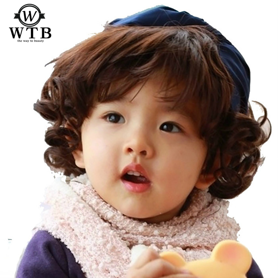 WTB Children Wig Short Curly Hairpiece Synthetic Heat Resistance Fiber Flat Bangs