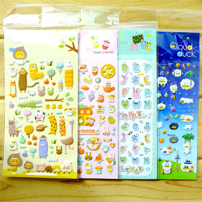 4 Pcs Randomly Children Stickers Toys Stationery  Cartoon Pattern 3D Bubble Leather Diary Decoration Pasting Mobile DIY Stickers