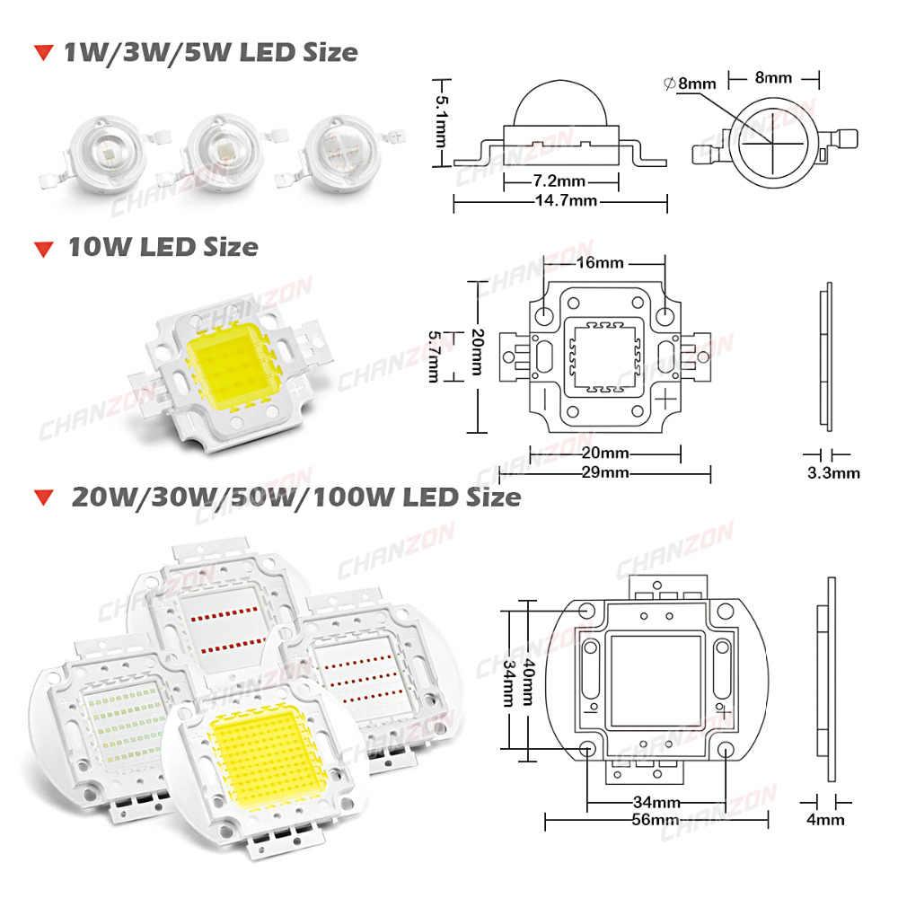 Yüksek güç LED çip 1W 3W 5W 10W 20W 30W 50W 100 W sıcak soğuk beyaz kırmızı yeşil mavi sarı SMD ışık boncuk 1 3 5 10 20 50 100 W Watt