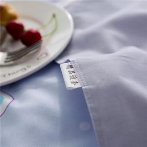 Image 5 - ParkShin Cartoon Bedding Set Rabbit Bedspread Blue Bed Flat Sheet Double Queen King Bedclothes Home Textiles Duvet Cover Set