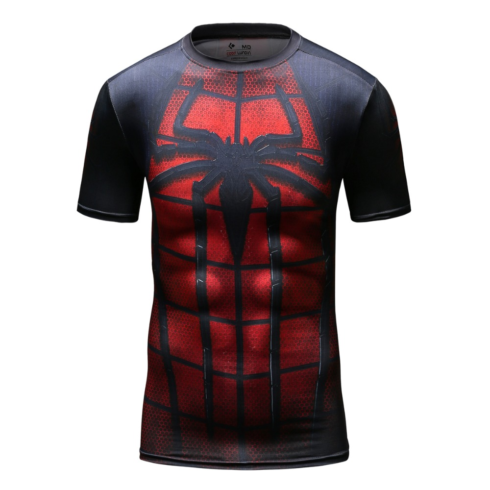 New cool spiderman logo t shirt mens compression dye for Printing logos on t shirts