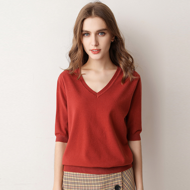 Spring Summer Women Sweaters And Pullovers Solid V-neck Short-sleeved Knit Cashmere Sweater Thin Casual Tops Jumper Female A835