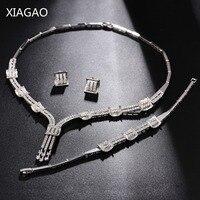 XIAGAO Parure Bijoux Femme Sets of Jewelry Necklace Earring Bracelet Women Crystal Wedding Decorations Costume Jewelery Sets