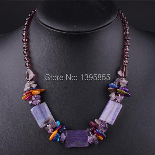 Nuevo collar de la joyería declaración naturaleza piedra de lujo envío gratis Purple