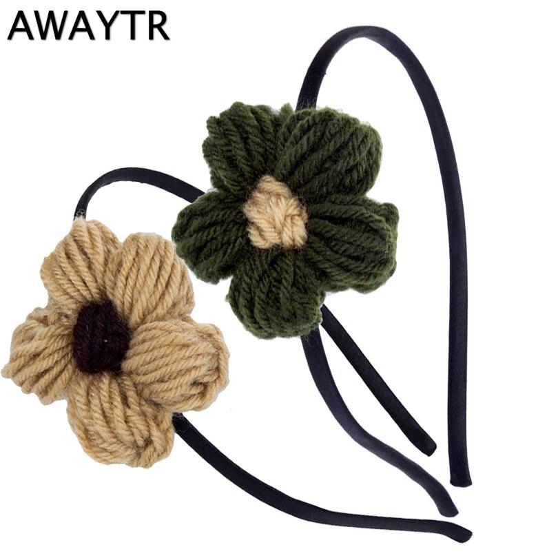 Awaytr 1 предмет прекрасный Обувь для девочек Hairbands с шерстяной цветок обруч для волос ободок детская зимняя Женские аксессуары для волос парти…