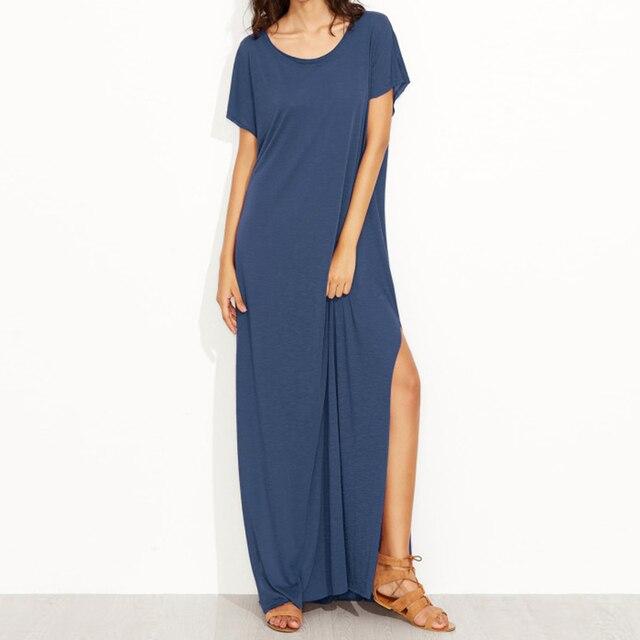 f38aa28d005 Women Summer Maxi Long Dress Short Sleeve Soft Dresses Femme Side Split O  Neck Robe Solid Casual Party Beach Holiday Vestidos