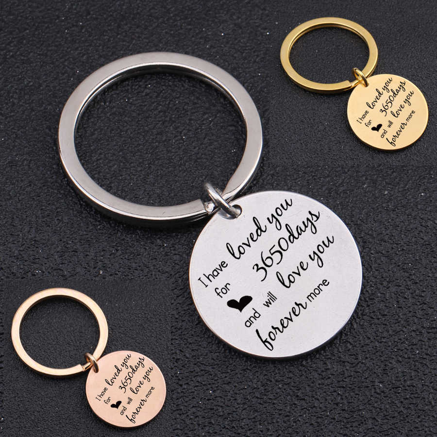 10th Anniversary Gift For Couple Key Chain Date Customized Love