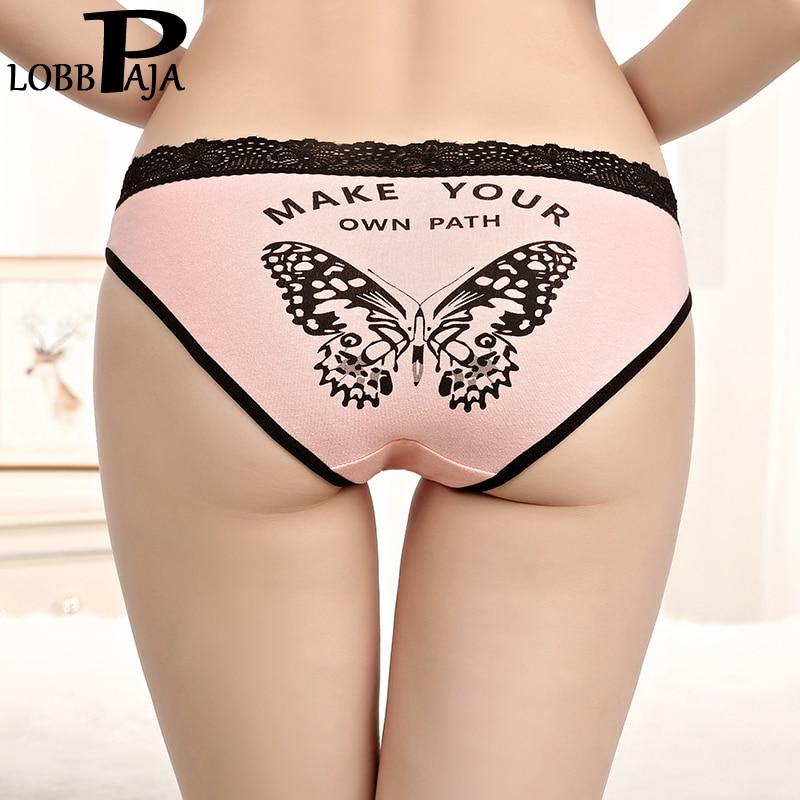 LOBBPAJA Women Underwear Sexy Lace Butterfly Transparent For Women Seamless Underpant Low Waist Ladies Bikini Panties 1 Piece