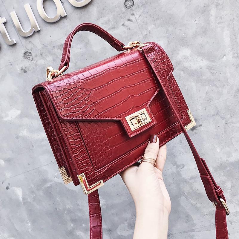 Retro de moda mujer bolso cuadrado 2018 nueva calidad de la PU de cuero de las mujeres bolso de cocodrilo patrón de bolso de la cerradura bolsas de mensajero del hombro