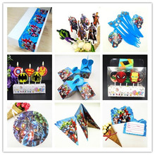 Avengers  Birthday Decoration Party Candle Box Cap DecorationS boy Baby shower Tablecloth Cups Straw Plates Shower