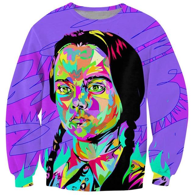 Autumn New Tie Dye Style Girl Print Sweatshirts Colorful Hoodie Women/Men Funny Pullovers Long Sleeve Tracksuit Streetwear Tops