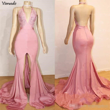 2019 Sexy Off-Shoulder Mermaid Prom Dresses Sweep Train High Split With Applique Sleeveless Evening Party Gowns